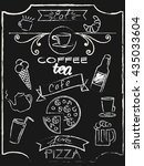 a cafe chalkboard icons set...   Shutterstock .eps vector #435033604