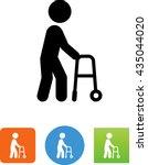 elderly man walking with the... | Shutterstock .eps vector #435044020