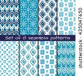 set of 8 seamless patterns in... | Shutterstock .eps vector #435047650