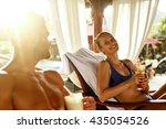 people on summer vacation.... | Shutterstock . vector #435054526