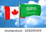 canada flag with saudi arabia... | Shutterstock . vector #435059299