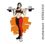 fitness woman with barbell ... | Shutterstock .eps vector #435061414