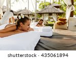 romantic couple spa. closeup of ... | Shutterstock . vector #435061894
