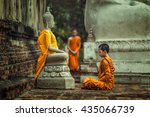 novices monk vipassana... | Shutterstock . vector #435066739