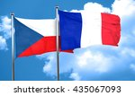 czechoslovakia flag with france ... | Shutterstock . vector #435067093