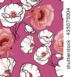 graphics poppies pattern on pink | Shutterstock . vector #435075004