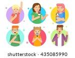 happy people with ice cream | Shutterstock .eps vector #435085990