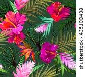 tropical flowers. seamless...   Shutterstock .eps vector #435100438