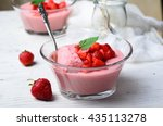 strawberry mousse  delicious... | Shutterstock . vector #435113278