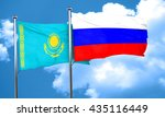 kazakhstan flag with russia... | Shutterstock . vector #435116449