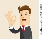 man in suit shows sign of okey... | Shutterstock .eps vector #435119080