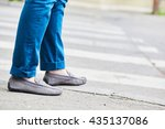 young man legs and moccasins... | Shutterstock . vector #435137086