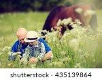 cute little boy in straw hat... | Shutterstock . vector #435139864