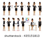 set of black working people on... | Shutterstock .eps vector #435151813