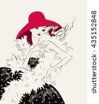 elegant girl in a red hat | Shutterstock .eps vector #435152848
