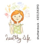 healthy lifestyle girl with red ... | Shutterstock .eps vector #435154393