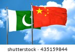 pakistan flag with china flag ... | Shutterstock . vector #435159844