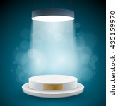 illuminated white round podium... | Shutterstock .eps vector #435159970