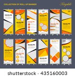 collection of yellow roll up... | Shutterstock .eps vector #435160003