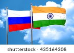 russia flag with india flag  3d ... | Shutterstock . vector #435164308