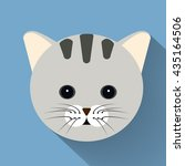 pet cat flat icon with long...