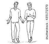 gay couple on walk  two smiling ... | Shutterstock .eps vector #435172570
