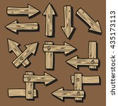 set of the wooden arrows drawn... | Shutterstock .eps vector #435173113