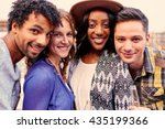 multi ethnic millenial group of ... | Shutterstock . vector #435199366