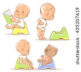set of cute little babies... | Shutterstock .eps vector #435207619