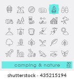 set of camping and nature icons.... | Shutterstock .eps vector #435215194
