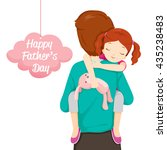 father carrying sleeping... | Shutterstock .eps vector #435238483