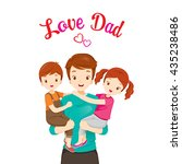 father carrying son and... | Shutterstock .eps vector #435238486