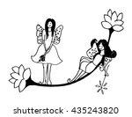 cute fairy butterfly on flower. ... | Shutterstock .eps vector #435243820