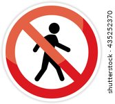 no pedestrian sign on white... | Shutterstock .eps vector #435252370