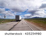 landscape with a semi truck and ... | Shutterstock . vector #435254980