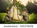 cute portrait of native... | Shutterstock . vector #435278458