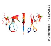 hairdressing tools background... | Shutterstock .eps vector #435292618
