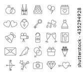 wedding and party linear icons... | Shutterstock .eps vector #435294928