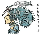 the fantastic shaman woman in... | Shutterstock .eps vector #435295198