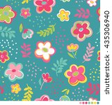cute colorful floral seamless... | Shutterstock .eps vector #435306940