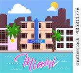 vintage retro style miami beach ... | Shutterstock .eps vector #435311776