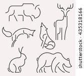 image line forest animals logo... | Shutterstock . vector #435318166