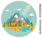 autumn. morning landscape in... | Shutterstock .eps vector #435320086