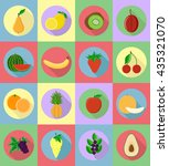 fruits flat set icons with the... | Shutterstock .eps vector #435321070
