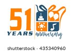 fifty one years gift box ribbon ... | Shutterstock .eps vector #435340960