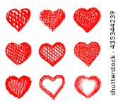 sketch of hand drawn hearts set ... | Shutterstock .eps vector #435344239