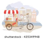 hot dogs on bicycle  vector... | Shutterstock .eps vector #435349948