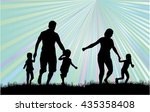 family silhouettes in nature. | Shutterstock .eps vector #435358408
