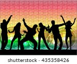 dancing people silhouettes.... | Shutterstock .eps vector #435358426