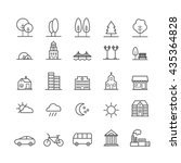 Set Of Linear Icons Of City...